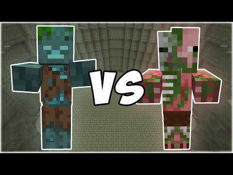 Drowned vs Zombie Pigman - Minecraft Mob Battle