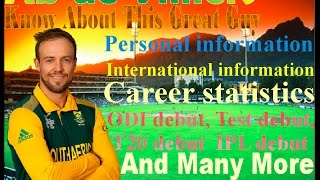 AB De villiers Complete Informationa. whole Carrier ODI, T20, Test, IPL