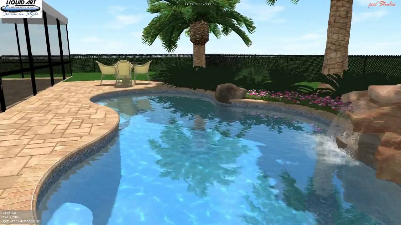 Lake worth pool 3d swimming pool design rock waterfall for Swimming pool design youtube