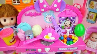 Baby doll Mini mouse kitchen cooking toys with play doh play