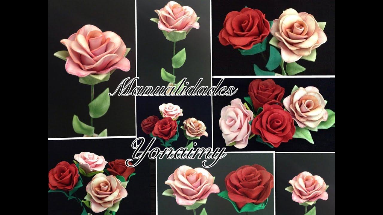 Rosas de foamy o goma eva sin molde solo con termoformado youtube - Flores sencillas de goma eva ...