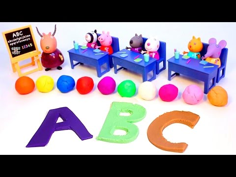 Play Doh Peppa Pig Classroom Learn Abc Playdough Letters Peppa Pig School House video