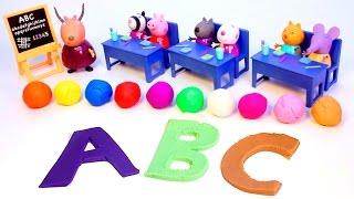 Play Doh Peppa Pig Classroom Learn ABC Playdough Letters Peppa Pig School House