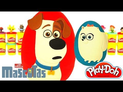 Huevos Sorpresas Gigantes de La Vida Secreta de tus Mascotas en Español de Plastilina Play Doh