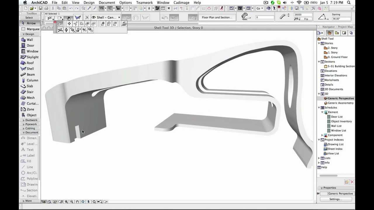 Archicad Shell Tool Free Form Modeling Of A Facade