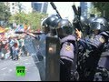 Fierce clashes in Madrid: Spanish police fire rubber bullets at miners protest