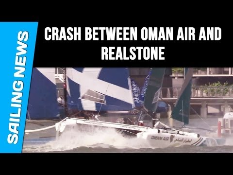 Crash between Oman Air and Realstone : Extreme Sailing Series Singapore 2014