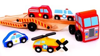 Car Carrier Transports Helicopter Fire Truck Ambulance and Police Car Toys for Children