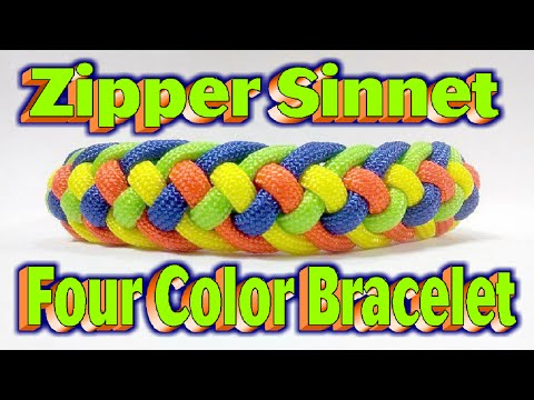 How To Make A Paracord Skittles Modified Four Strand Zipper Sinnet {4 Colors} Bracelet!!