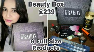 GRABOX Jan 2018 | Beauty Box @ 239 | 6 Full Size MakeUp & Skincare Products | Unboxing & Review