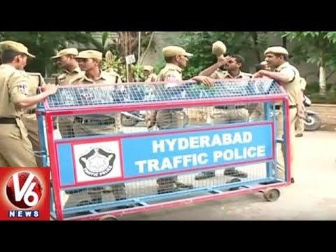 Hyderabad City Police Deployed Tight Security At Swami Paripoornananda House | V6 News