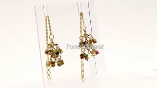 Luxor Designer Simulated Jewelry Studded Long Solid Gold Earrings for Women by Forever22karat#e6383