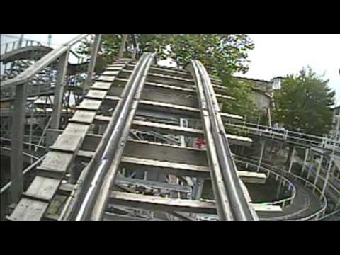 Lost Coaster of Superstition Mountain Wooden Roller Coaster POV Indiana Beach IN