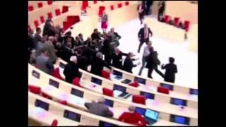 Raw: Brawl Erupts in Georgia Parliament