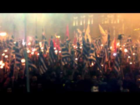 Golden Dawn anthem before 30000 man rally Athens 2013