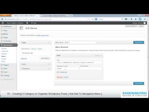 WordPress Tutorial 07 - Creating A Category to Organize WordPress Posts