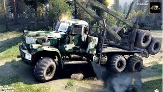 SPINTIRES 2014   The Hill Map   Kraz Logging Truck Driving to the UAZ Location