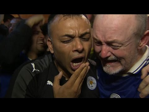 Leicester City fans cheer and sob after Premier League win