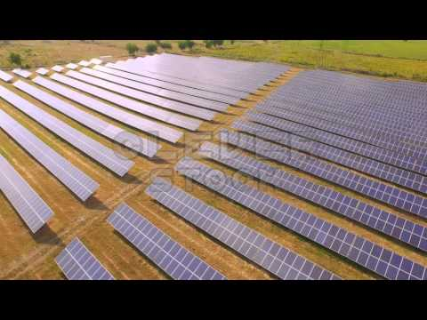 Aerial Fly Over Solar Power Panels Field Green Energy Clean Energy Production