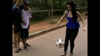Very Talented Hot Girl plays Football with High Heels