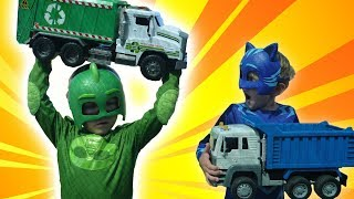PJ Masks & Paw Patrol Trucks for kids! Garbage Truck and Dump Truck pretend play with PJ Masks Ep1