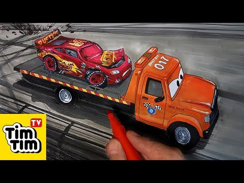 How to draw CARS 3 STU Scattershields Towing Injured McQueen | Easy step-by-step | Art colors