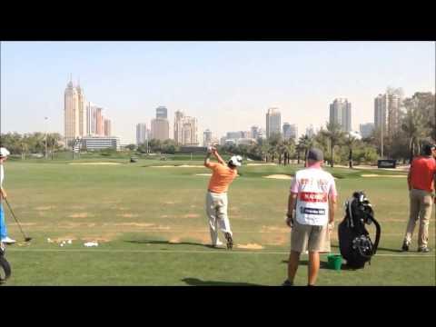 Jose Maria Olazabal swing on the range at the 25th Omega Dubai Desert Classic