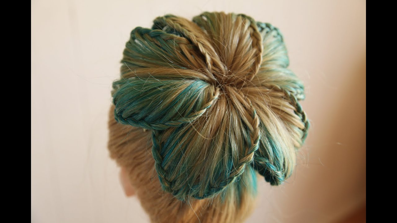Flower Braided Bun - YouTube