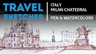 Drawing Milano, pen and watercolors