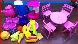 Đồ chơi nấu ăn bé gái 24 món có bếp điện, bàn ghế, rau củ, thìa dĩa.. Cooking toys (Chim Xinh)