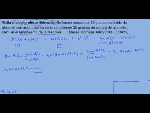 Reacciones químicas  con rendimiento de la reacción 05 ejercicio