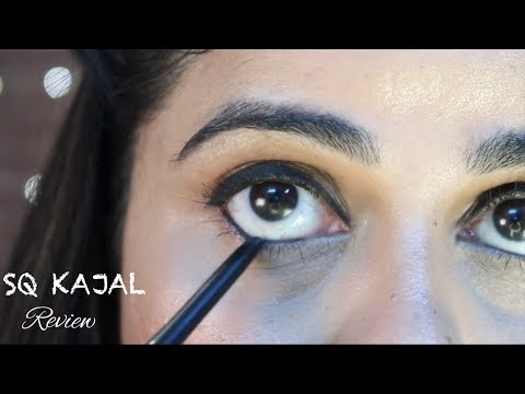 SQ BADASS KAJAL REVIEW | Swatch test, waterproof | Sana K