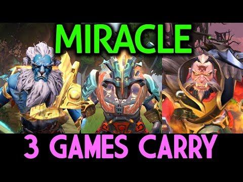 Miracle- Phantom Lancer & Lycan & Juggernaut Dota 2 | 3 Games Carry