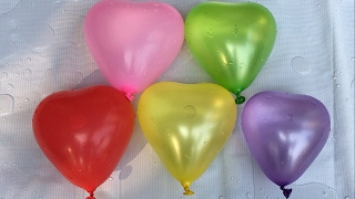 Five Water Heart Balloons collection | Compilation Learn Colours Wet Balloon Finger Nursery Rhymes