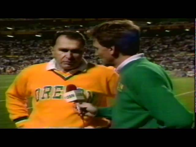 Oregon coach Rich Brooks interviewed at halftime during Oregon-ASU 11-09-91
