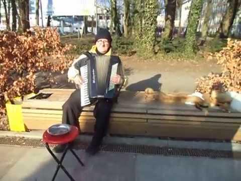 KOŁOBRZEG - Bulwar : Starszy Pan Gra Na Akordeonie Mimo Mrozu ( - 1 OC ) : 10.02.2017 / 13:31 .