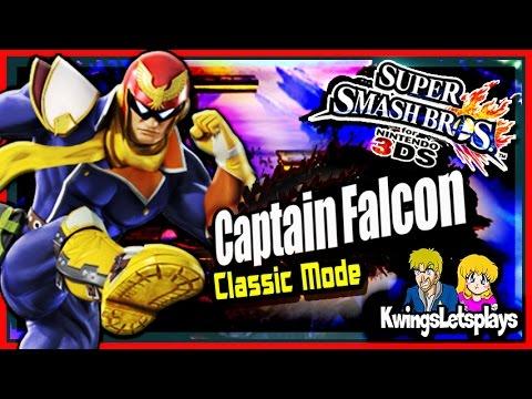 SUPER SMASH BROS 3DS - Captain Falcon Smashes Classic Mode!