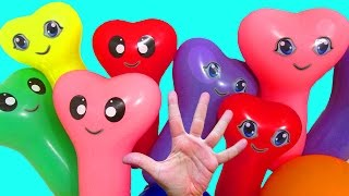 Water balloons Song For children Finger family Educational video Learn colors Burst balloons