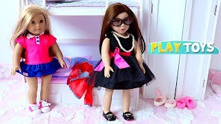 Baby Doll Hair Cut Shop! Playing American Girl doll bed room dress up closet! 🎀
