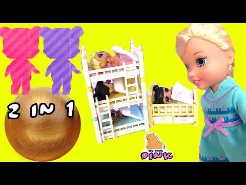 #Няньки! 2 КУКЛЫ В ЗОЛОТОМ ШАРИКЕ! Bunk Beds. Видео для Детей | ИГРУШКИ С МАЙ ТОЙС ПИНК