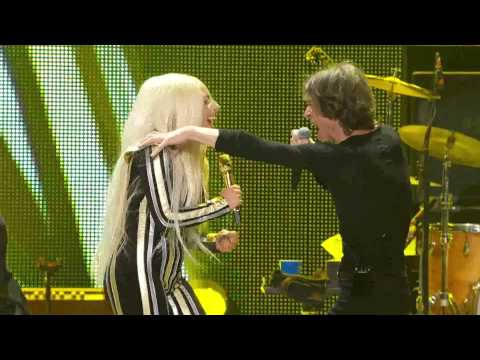 "Lady Gaga performs ""Gimme Shelter"" with the Rolling Stones 50th Anniversary Concert ""One More Shot"""