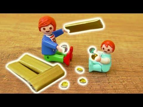 Playmobil SCHATZ BASTELN - Pimp my Playmobil Goldbarren + Münzen für Julian + Emma Vogel