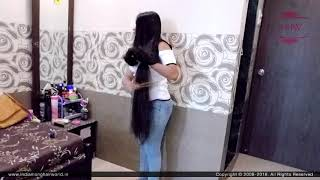 ILHW Rapunzel Nishita's Self Hair Play & Hair Flaunting With Almost Floor Length Silk