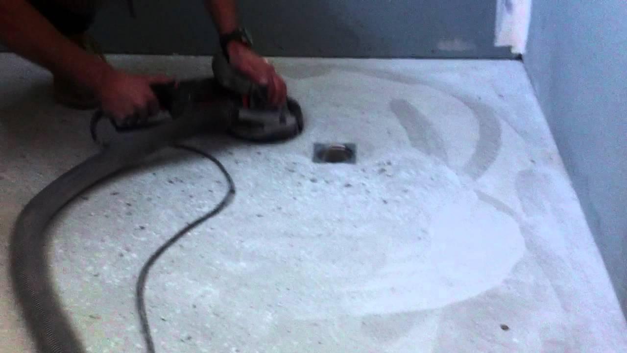 Concrete Shower Base Grinding Youtube