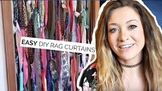 DIY RAG CURTAINS | HOW TO MAKE CURTAINS OUT OF SCRAP FABRIC