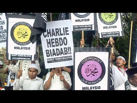 Peace demonstration by Hizbut Tahrir Malaysia in front of France Embassy to reject Charlie Hebdo.