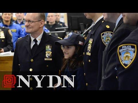 Savannah Solis visits Bronx station after writing thank-you notes to NYPD