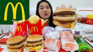 MCDONALD'S BIG MAC + BBQ Beef and Chicken Burgers w Egg, McFlurry, Apple Pie | Mukbang Eating Show