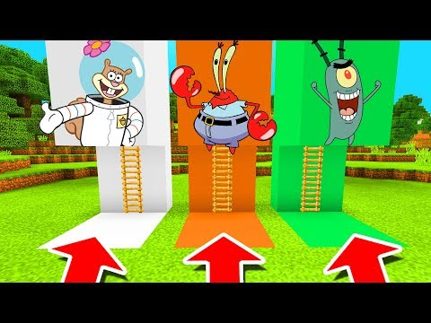 Minecraft PE : DO NOT CHOOSE THE WRONG LADDER! (Sandy Cheeks, Mr Krabs & Plankton)