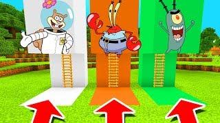 Minecraft PE : DO NOT CHOOSE THE WRONG LADDER! (Sandy Cheeks, Mr Krabs & Plankton)